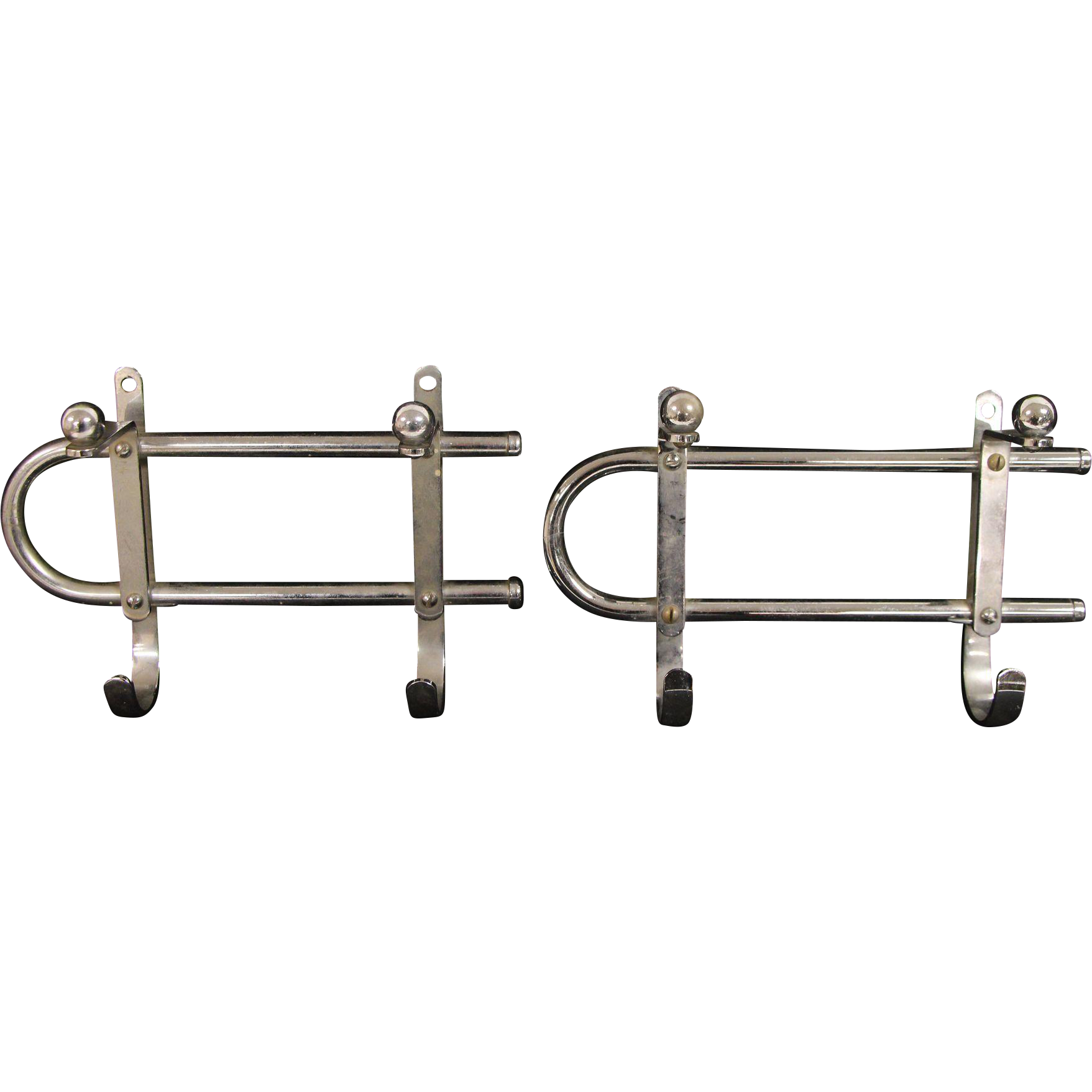 Pair of chrome wall hooks