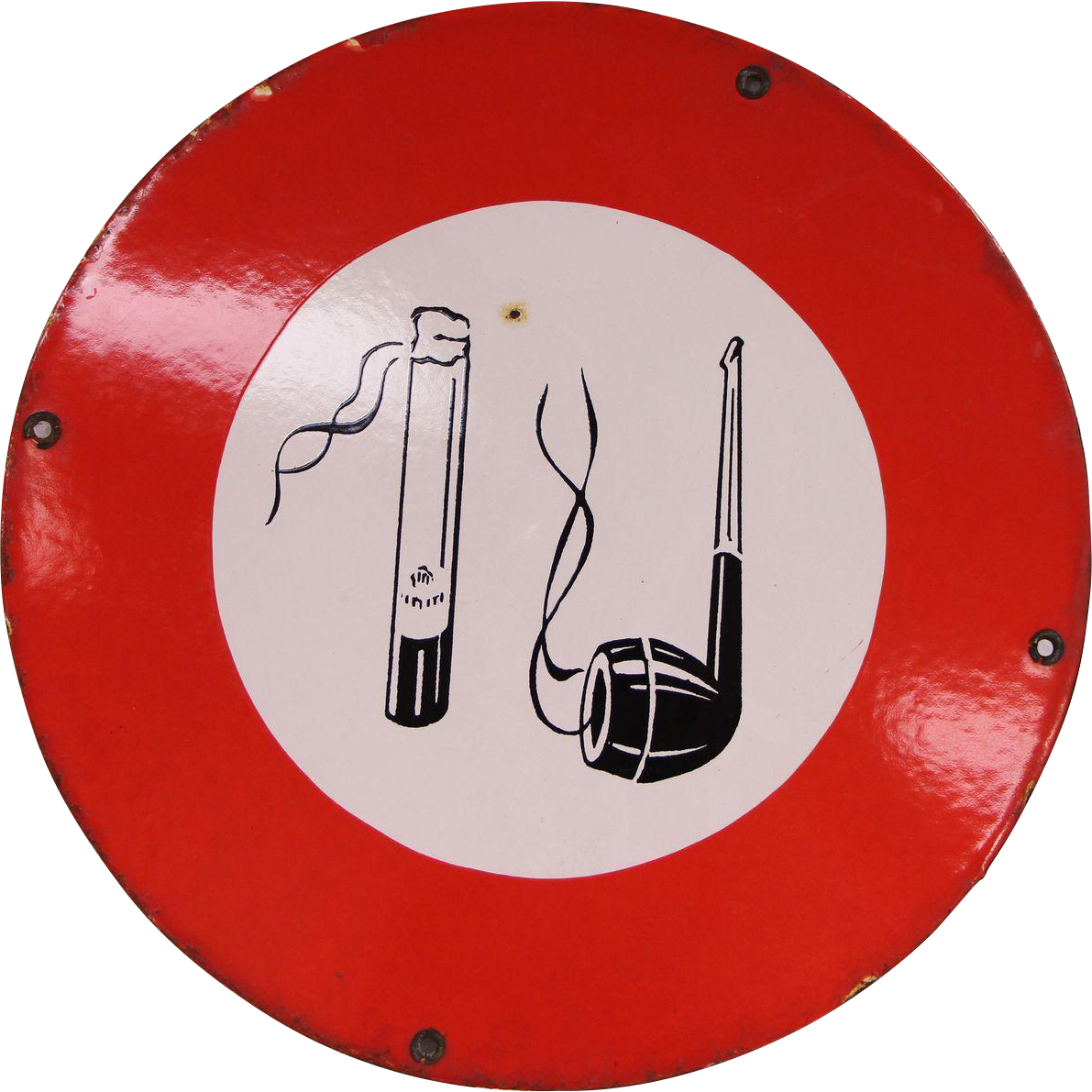 French pipe & cigarette metal sign