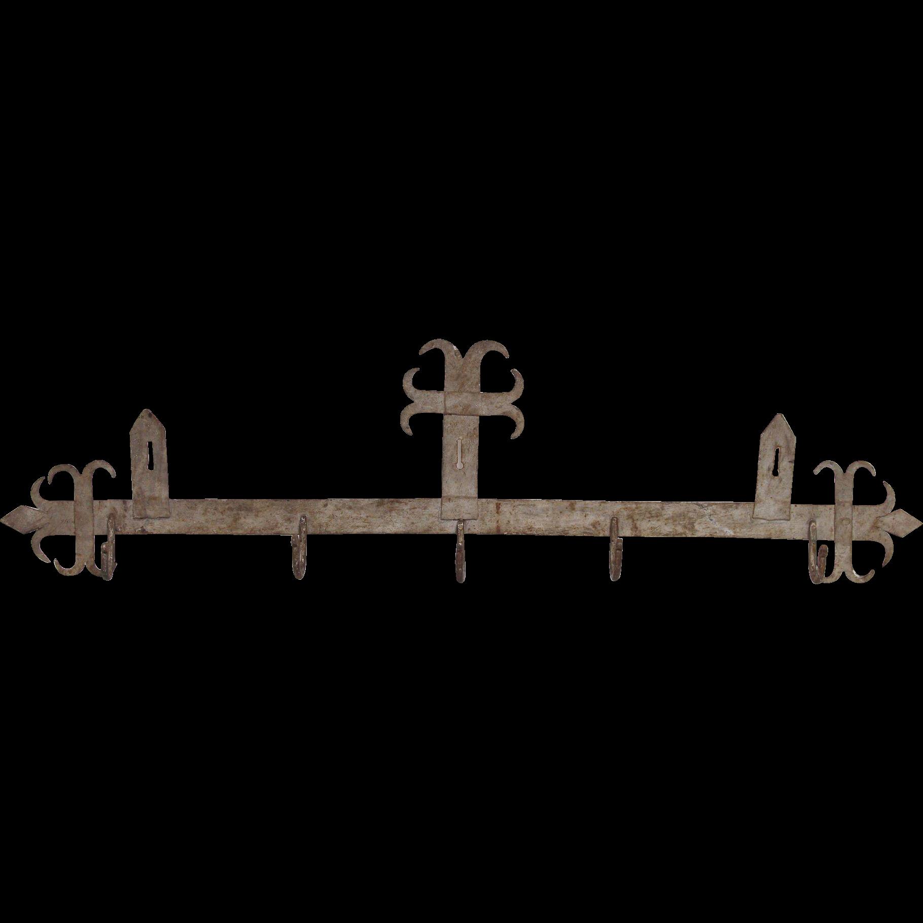Arts & Crafts metal wall hook rack