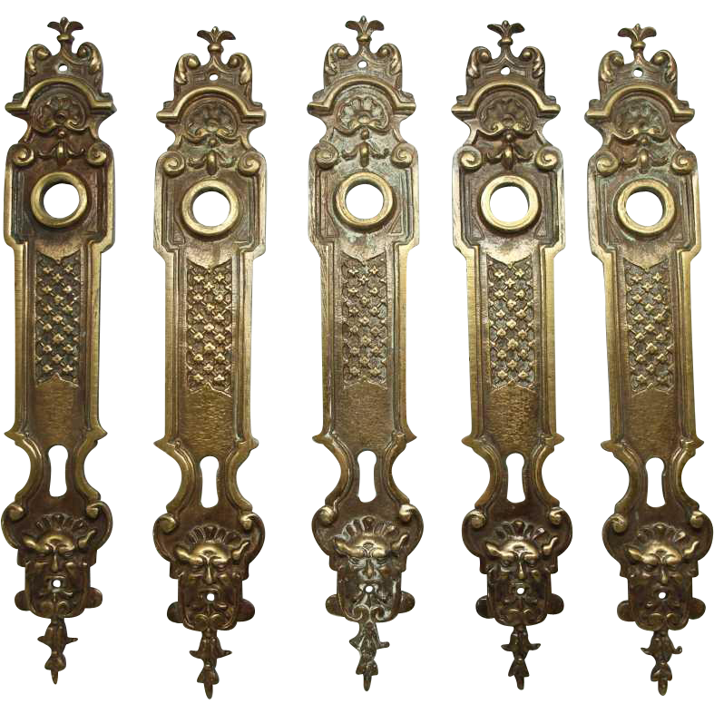 Set of ornate French figural back plates