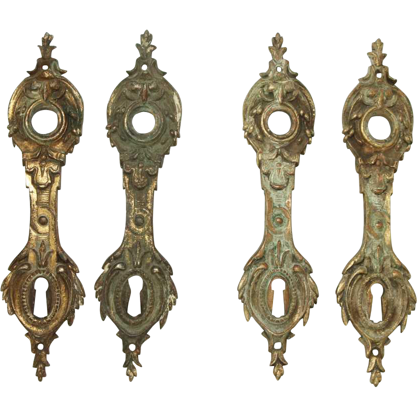 Set of four French bronze back plates
