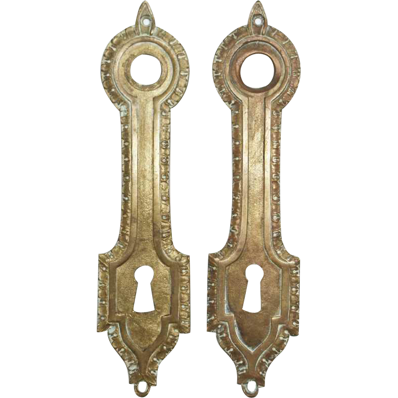Set of bronze French back plates with keyhole