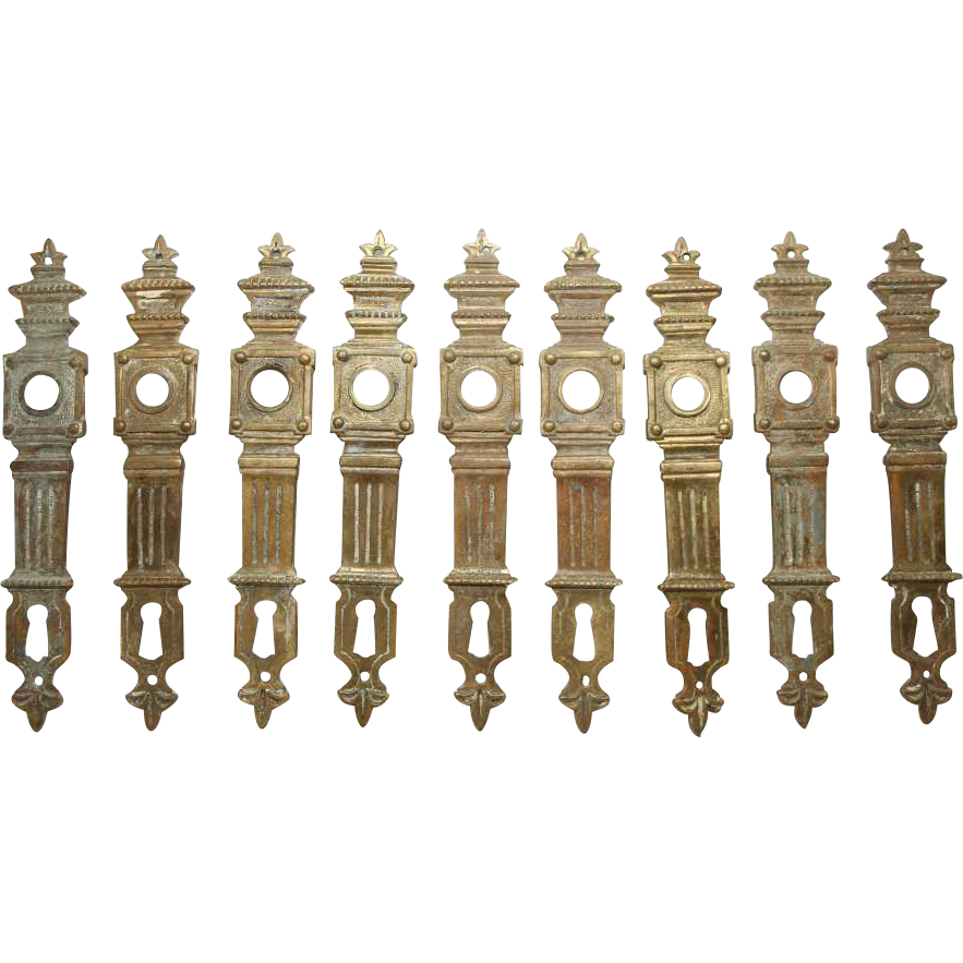 Set of French bronze back plates with keyholes