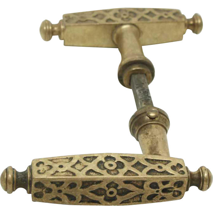 Set of four pairs of bronze lever knobs