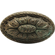 Bronze oval floral single doorknob