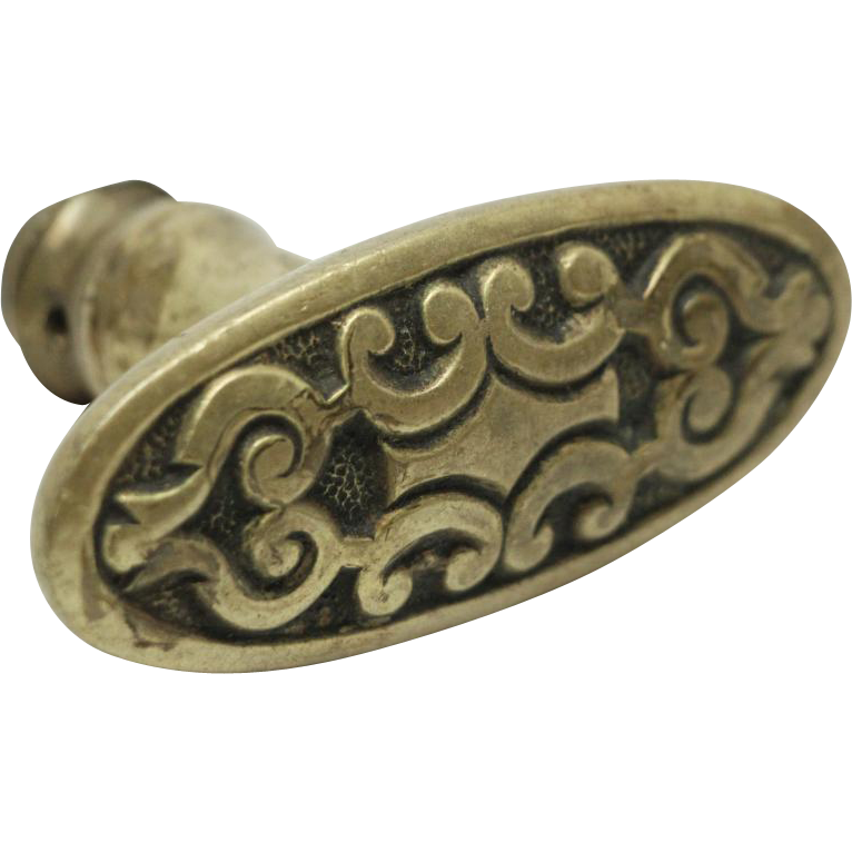 Geometrical bronze oval doorknob