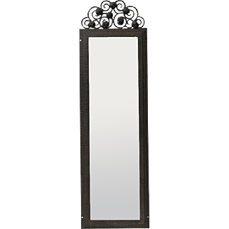Wrought iron Art Deco mirror with beveled glass