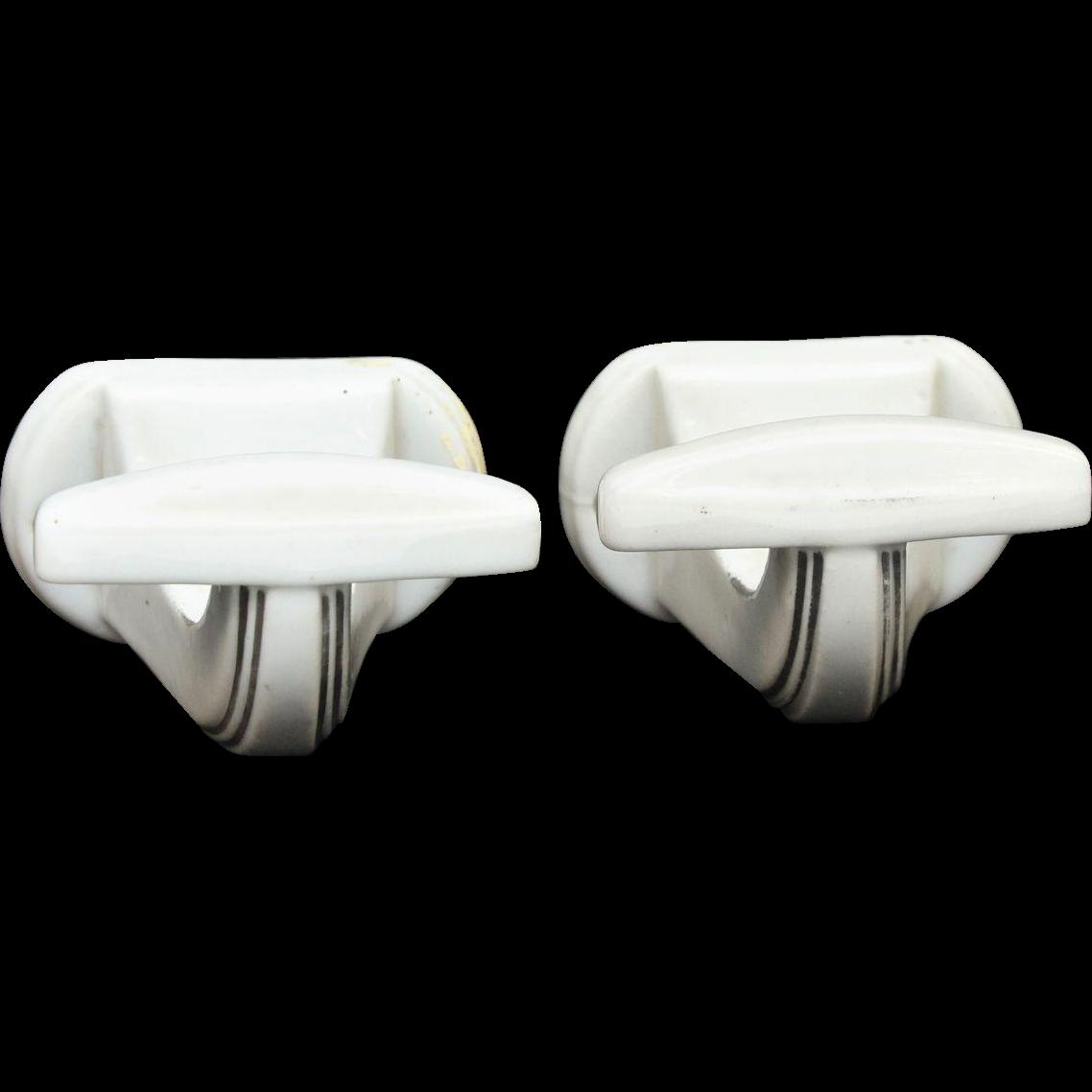 Pair of ceramic Art Deco hooks