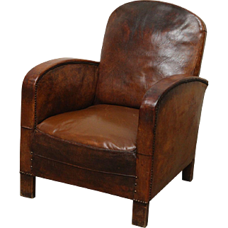 French leather club chair with wooden feet