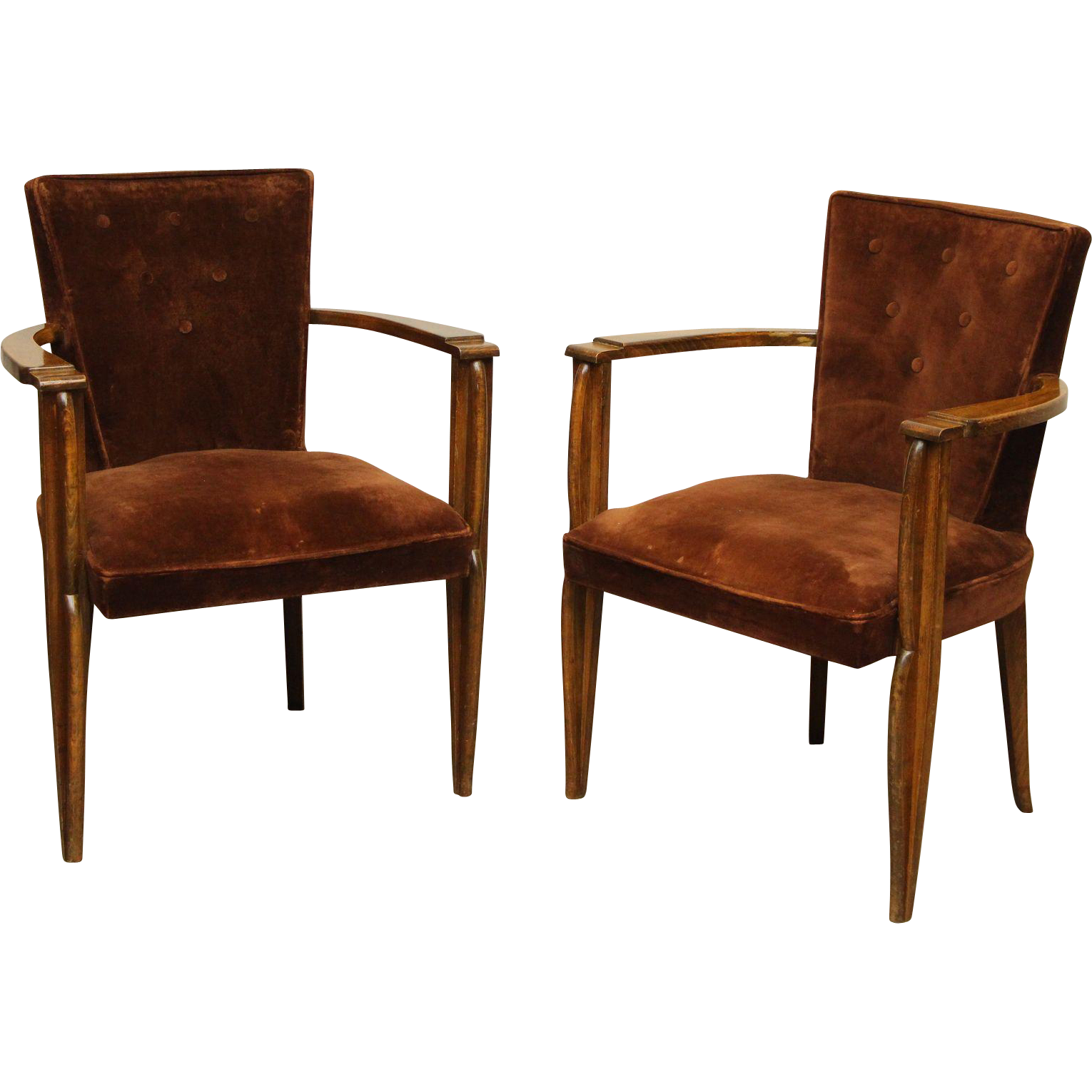Pair of brown velvet arm chairs