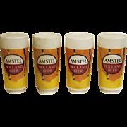 Set of opaline glass Amstel beer globe shades
