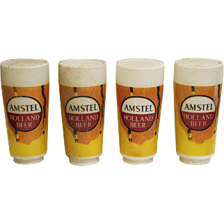 Set of opaline glass Amstel beer globe shades
