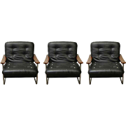 Set of Black Italian Leather Armchairs