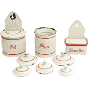 Eight Piece Vintage French Kitchen Canister Set
