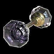Purple cut glass octagonal doorknob hardware