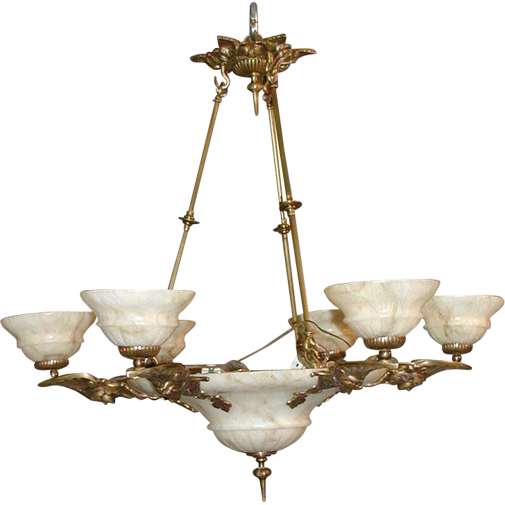 Beautiful white alabaster chandelier replica with figural arms.
