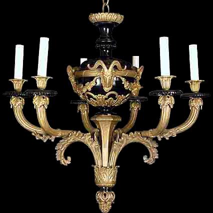 French Empire style ormolu bronze chandelier