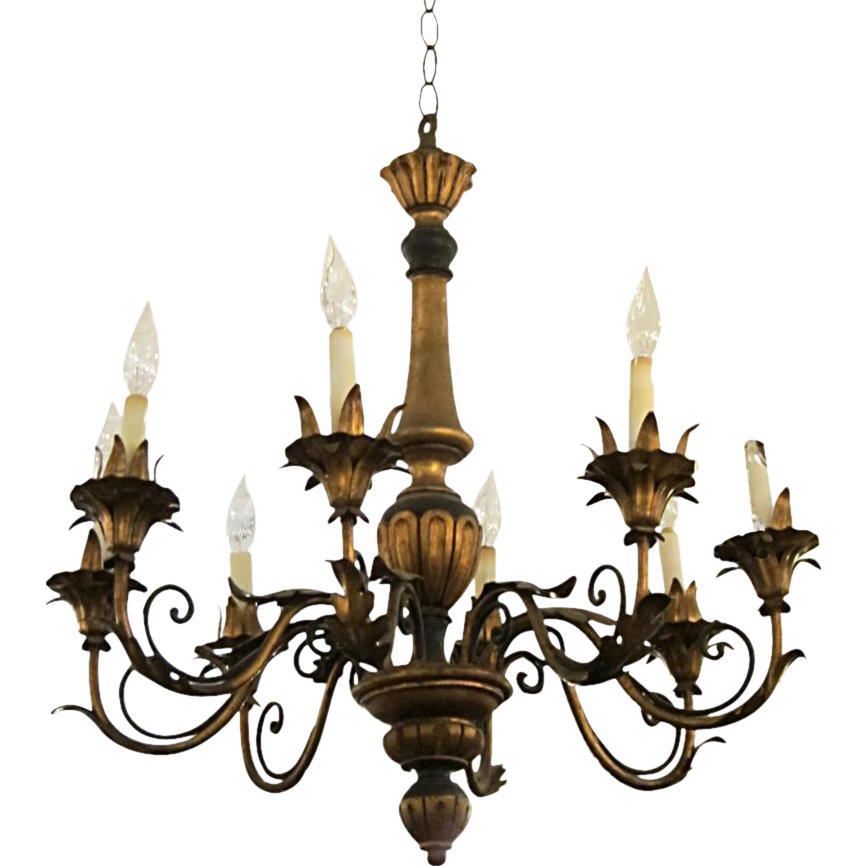 Wood & gilt metal Florentine style chandelier