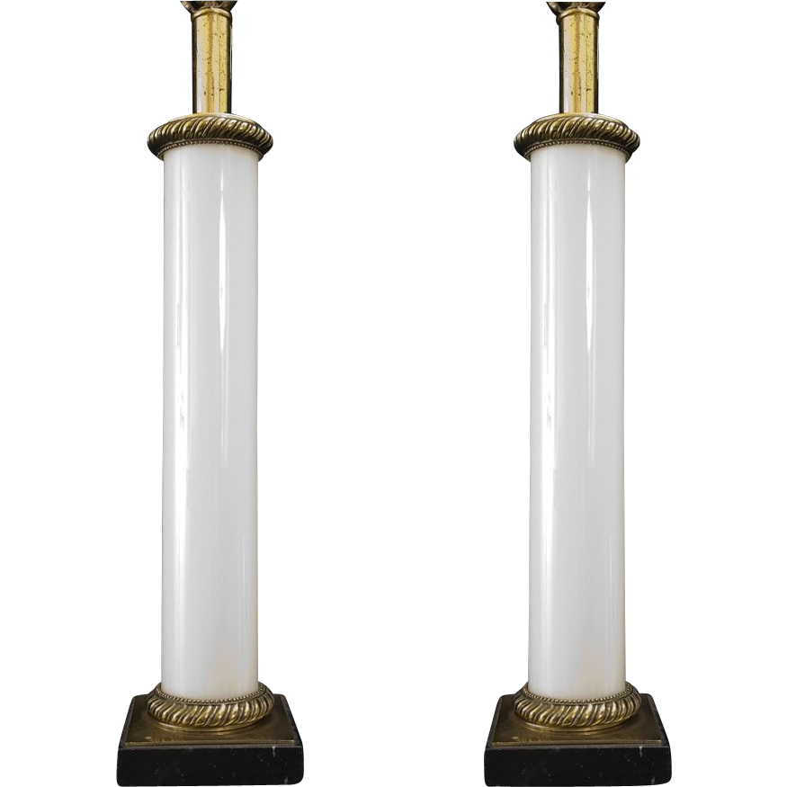 Neoclassical style opaline glass table lamps