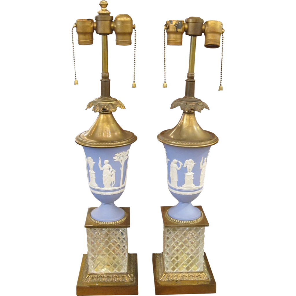 Pair of English made blue table lamps with crystal base