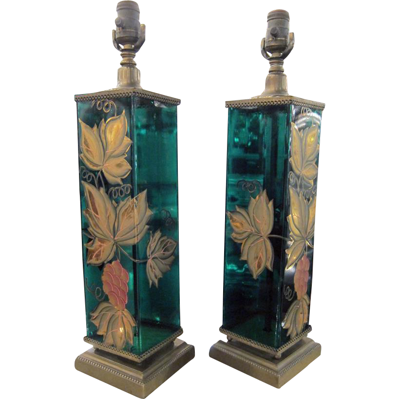 French emerald glass hand painted lamps