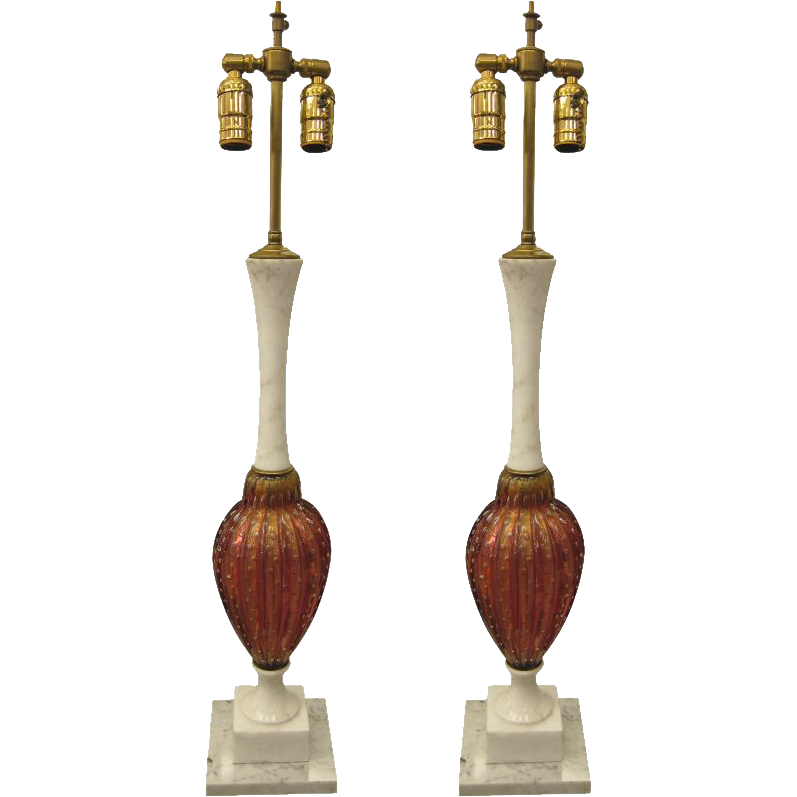 Pair of Italian made Murano glass table lamps