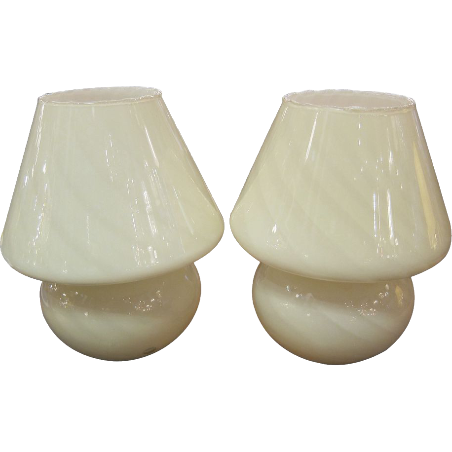 White mushroom Murano lamps