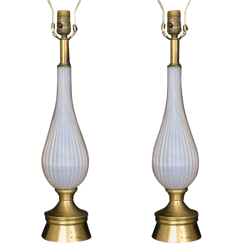 Pair of Italian Art Deco Murano glass lamps