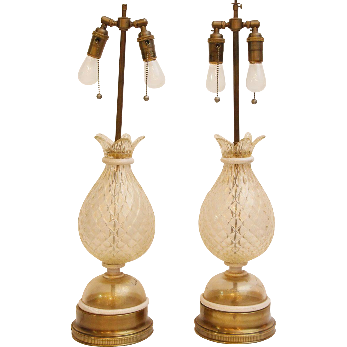 Pair of 1940s Murano glass table lamps
