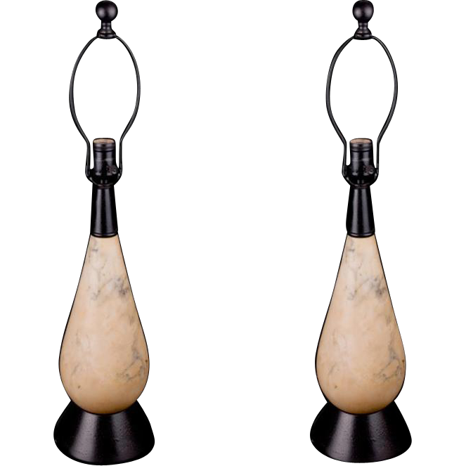 Pair of Moderne style alabaster lamps