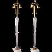Pair of glass column lamps
