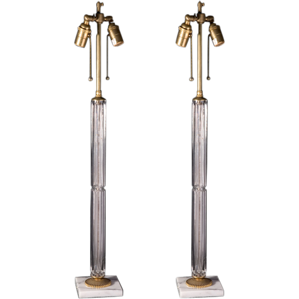 Pair of glass column lamps