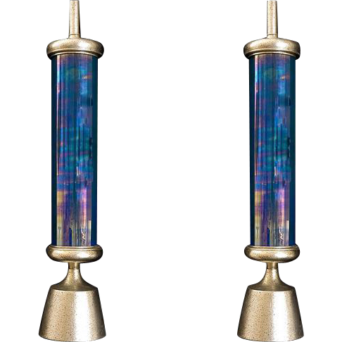 Pair of Moderne style iridescent glass lamps