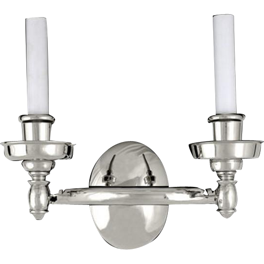Streamline double arm silver plated brass Deco sconces