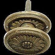 Floral oval bronze doorknob