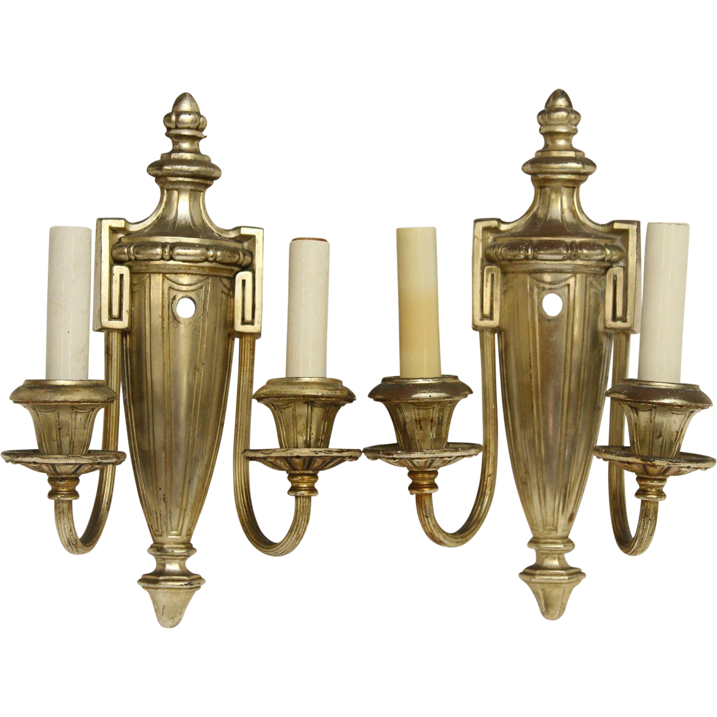 1920s Pair of Neoclassical silvered metal sconces