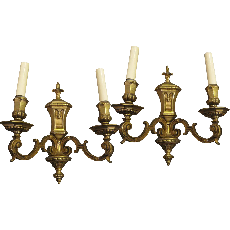Pair of French Empire style two arm sconces