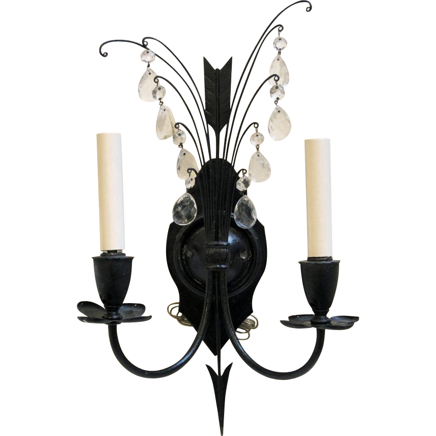 Pair of American made iron sconces with crystals