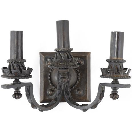 Arts & Crafts hammered bronze sconces