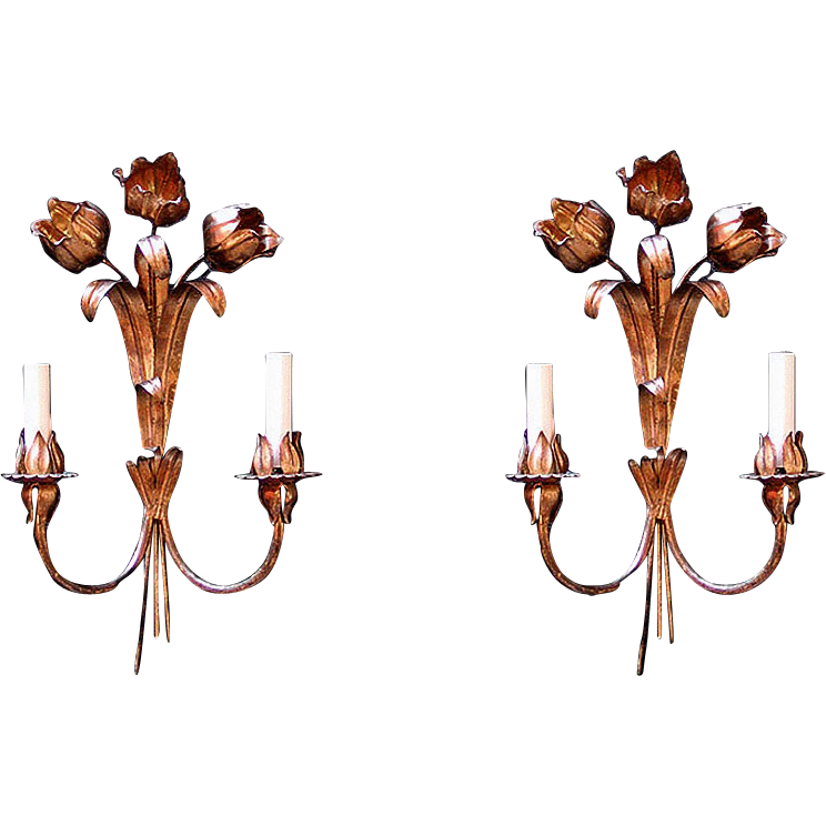 Pair of Italian gilt metal floral sconces