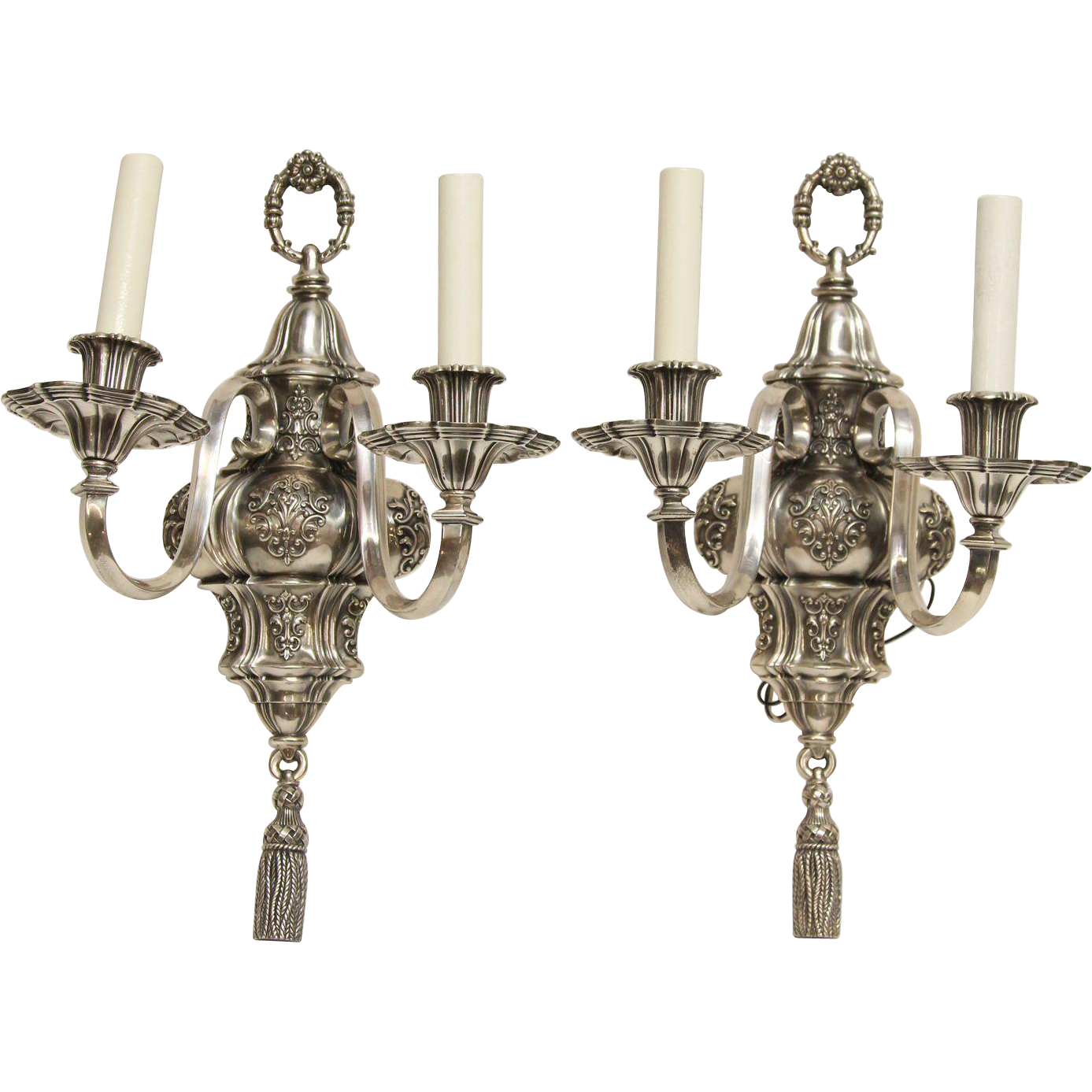 1920s Georgian style Caldwell silver over bronze sconces