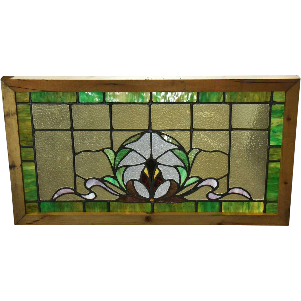 Pretty vintage stained glass with renewed chestnut frame