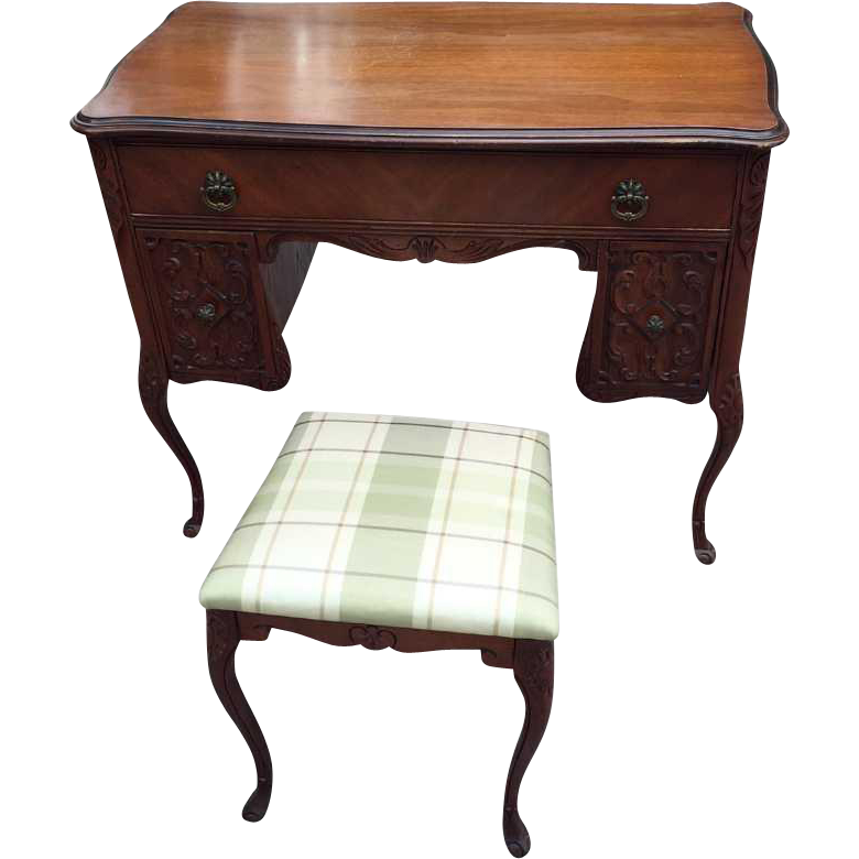 Mahogany ladies writing desk & bench
