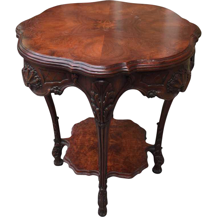 Burled carved walnut side table