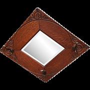 Quarter sawn hall tree diamond shaped mirror