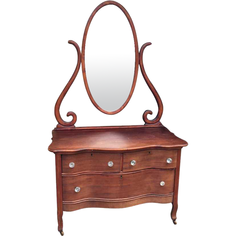 Mahogany lowboy with tall mirror
