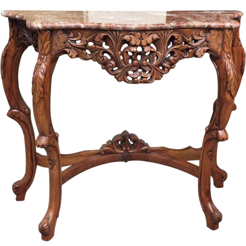 Walnut carved console with marble top