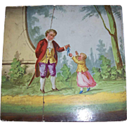 'Man Giving Toy To Child' Vintage Hand Painted Tile