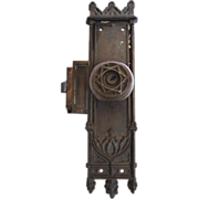 Gothic entry doorknob set with escutcheon plates