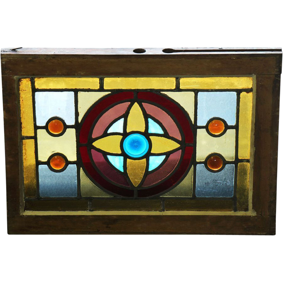 Stained glass window with jewels, almond blossom and amber & ruby glass